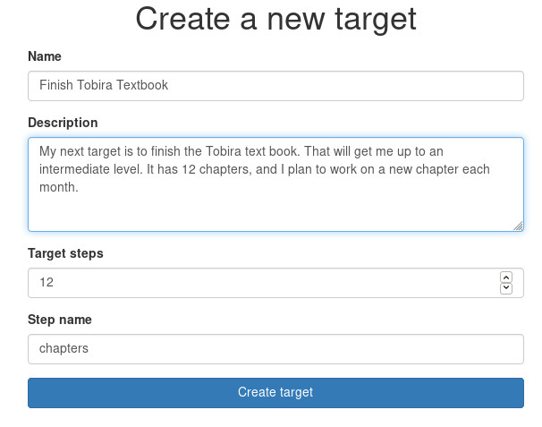 Example of creating a new target